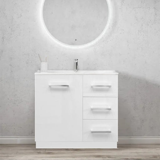 Elegant Handle 900mm Ceramic Freestanding Vanity