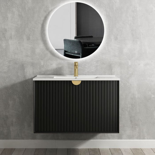 Otti Marlo 900mm Wall Hung Vanity Matte Black - Idealbathroomcentre