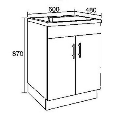 Ceramic Top  Laundry Tub with Polyurethane cabinet 600*480*870mm - Idealbathroomcentre