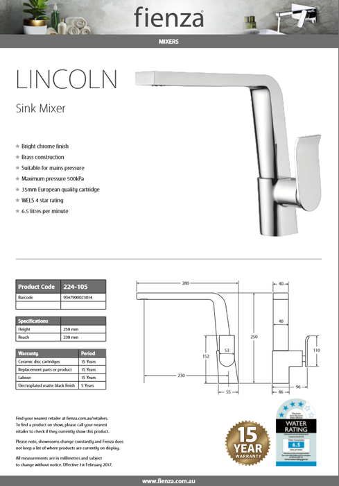 Fienza LINCOLN Swivel Sink Mixer 224-105