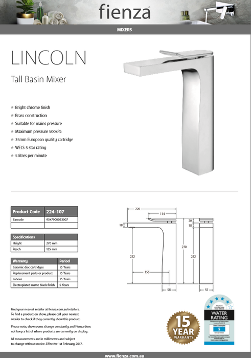 Fienza LINCOLN Tall Basin Mixer 224-107 - Idealbathroomcentre