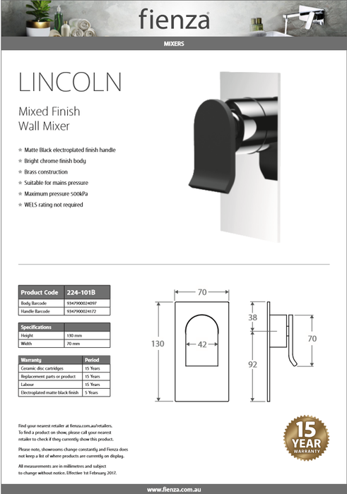 FIENZA LINCOLN MBC Wall Mixer 224-101B