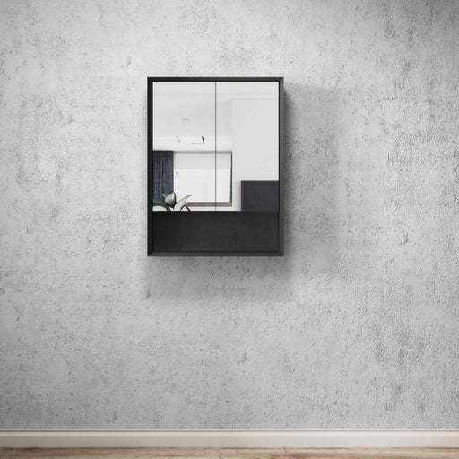 Otti Marlo 600mm Shaving Cabinet Matte Black - Idealbathroomcentre