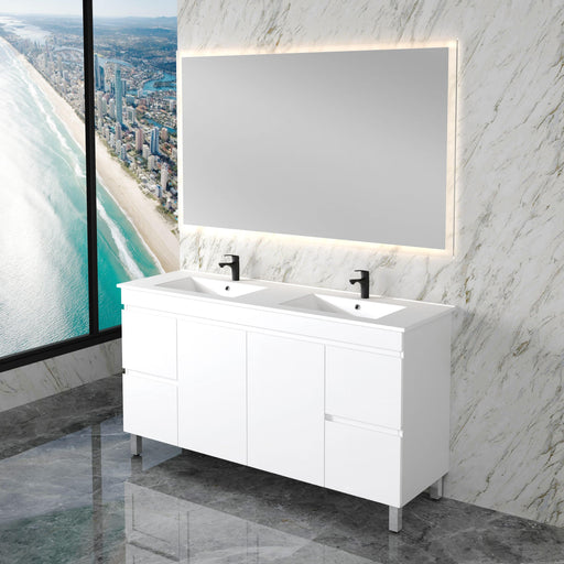 MILANO-NEW Elegant 1500mm Ceramic Freestanding Vanity - Brand_Milano, Colour_Gloss White, Product Type_ Freestanding Vanity, Size_1500mm, Vanity Tops_Ceramic Tops-Ideal Bathroom Centre