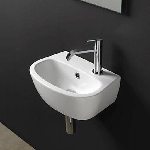 STUDIO BAGNO-Studio Bagno Mini Milk 400mm Basin - Basin, Bathroom, Brand_Studio Bagno, Colour_ Matte Black, Colour_Gloss Black, Colour_Gloss White, Colour_Matte White, Material_Ceramic, Product Type_Wall Hung Basin, Shape & Design_Curve-Ideal Bathroom Centre