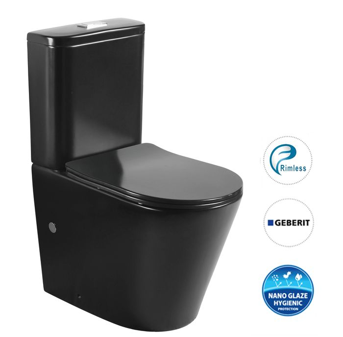 Oasis Rimless Back To Wall Toilet Suite-Matte Black - Idealbathroomcentre
