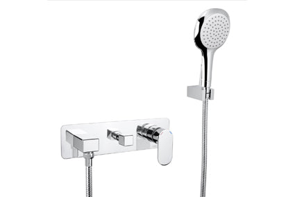 Linsol Realm Wall Mixer with Divertor and Handshower - Idealbathroomcentre
