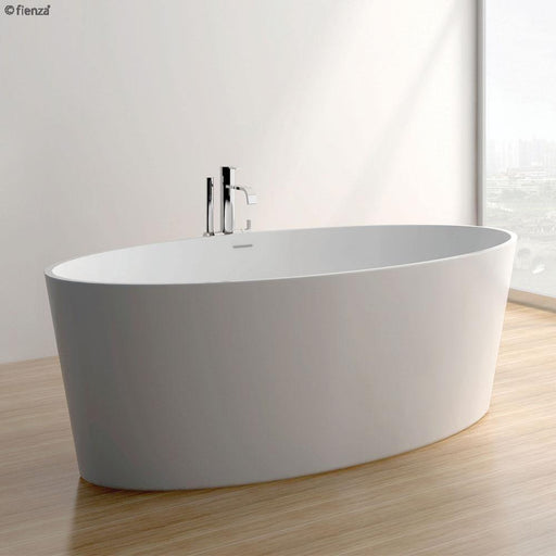 Fienza Lexy 1600 Matte White Stone Freestanding Bath - Idealbathroomcentre
