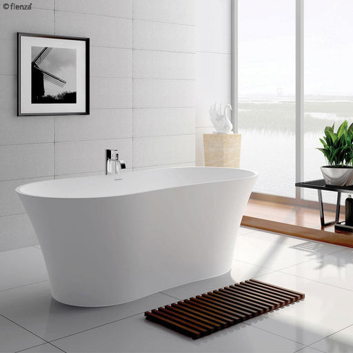 Fienza Orpheus 1630 Matte White Stone Freestanding Bath - Idealbathroomcentre