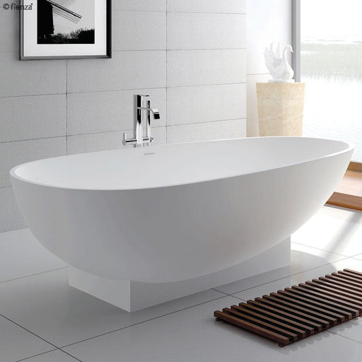 Fienza Lagoona 1810 Matte White Stone Freestanding Bath - Idealbathroomcentre