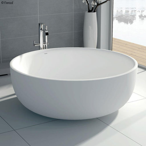 Fienza Shinto 1350 Matte White Stone Freestanding Bath - Idealbathroomcentre