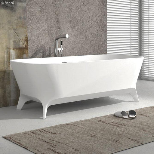 Fienza Hampton 1600 Matte White Stone Freestanding Bath - Idealbathroomcentre