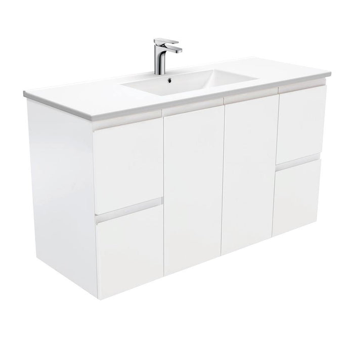 Fienza Finger Pull Matte White 1200mm Vanity With Ceramic Top - Idealbathroomcentre