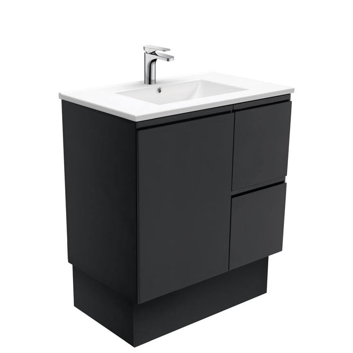 Fienza-Fienza Finger Pull Matte Black 750mm Vanity With Ceramic Top - Brand_Fienza, Colour_ Matte Black, Product Type_ Freestanding Vanity, Product Type_ Wall Hung Vanity, Size_750mm, Vanity Tops_Ceramic Tops-Ideal Bathroom Centre