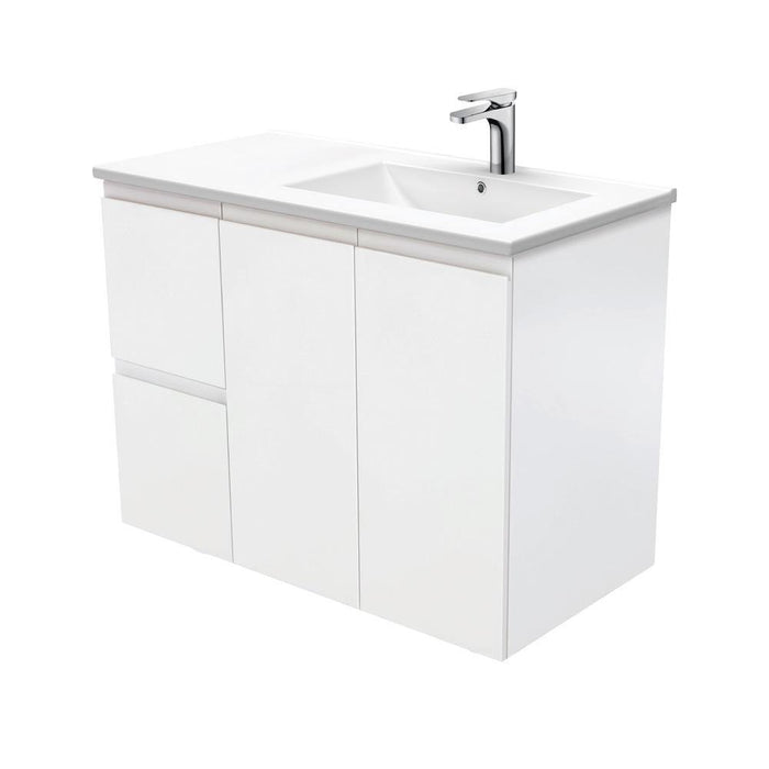 Fienza Finger Pull Matte White 900mm Vanity With Ceramic Top
