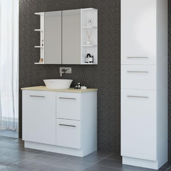 Timberline Nevada Plus 750mm Freestanding Vanity with Silk Surface Top & White Gloss Ceramic