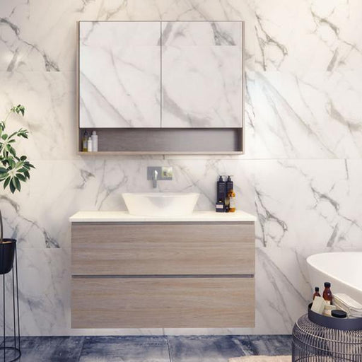 Timberline Nevada Plus 900mm Wall Hung Vanity with Silk Surface Top & White Gloss Ceramic