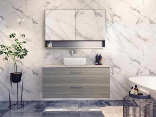 Timberline Nevada Plus 1200mm Wall Hung Vanity with Silk Surface Top & White Gloss Ceramic