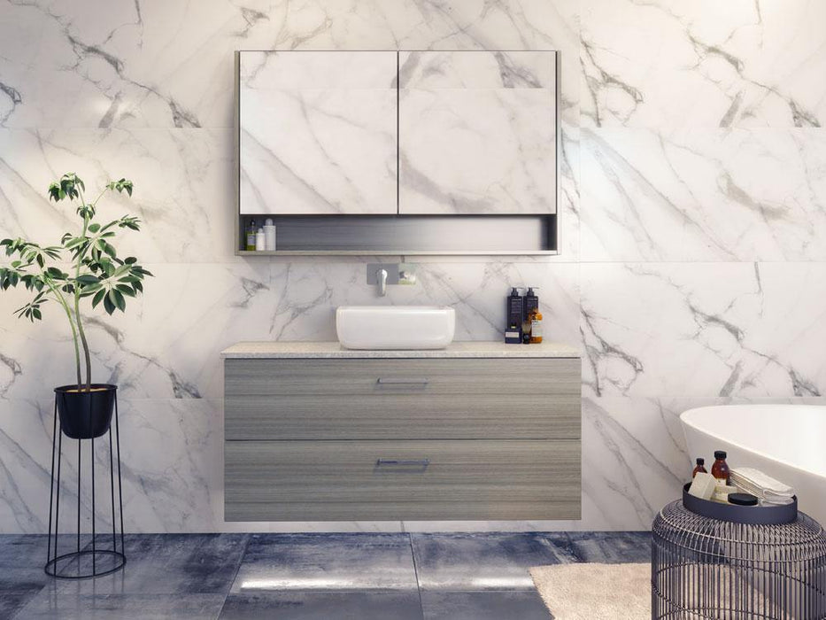 Timberline Nevada Plus 1200mm Wall Hung Vanity with Silk Surface Top & White Gloss Ceramic - Idealbathroomcentre