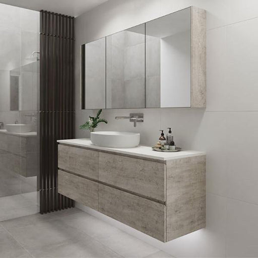 Timberline Nevada Plus 1800mm Wall Hung Vanity with Silk Surface Top & White Gloss Ceramic, Single Basin