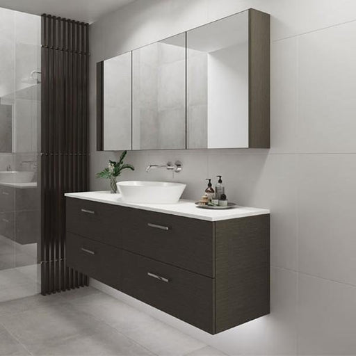 Timberline Nevada Plus 1500mm Wall Hung Vanity with Silk Surface Top & White Gloss Ceramic, Centre Basin