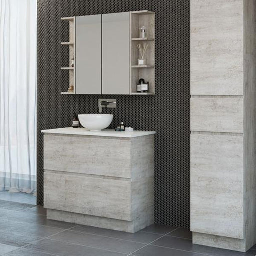 Timberline Nevada Plus 900mm Freestanding Vanity with Silk Surface Top & White Gloss Ceramic