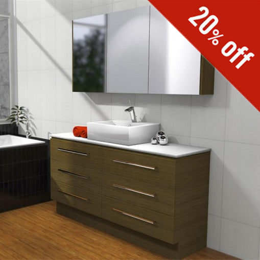 Timberline Ashton 1500mm Freestanding Vanity on Kickboard Timber - Idealbathroomcentre