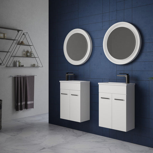 TIMBERLINE-Timberline Ensuite 460mm Vanity - Brand_Timberline, Colour_ Matte Black, Colour_Gloss White, Colour_Matte Duck Egg Blue, Colour_Matte Grey, Colour_Matte Mint Green, Colour_Matte Navy Blue, Colour_Matte Pastel Pink, Colour_Matte White, Colour_Woodgrain, Product Type_ Freestanding Vanity, Product Type_ Small Space Vanity, Product Type_ Wall Hung Vanity, Size_460mm, Vanity Tops_ Polymarble Top-Ideal Bathroom Centre