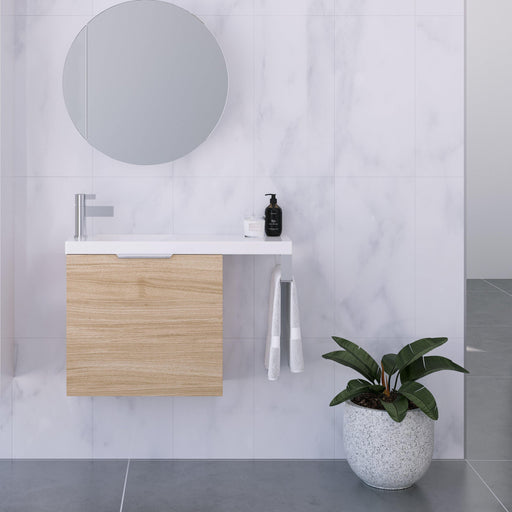 TIMBERLINE-Timberline Oscar Small Space Vanity - Brand_Timberline, Colour_ Matte Black, Colour_Gloss White, Colour_Matte Duck Egg Blue, Colour_Matte Grey, Colour_Matte Mint Green, Colour_Matte Navy Blue, Colour_Matte Pastel Pink, Colour_Matte White, Colour_Woodgrain, Product Type_ Freestanding Vanity, Product Type_ Small Space Vanity, Product Type_ Wall Hung Vanity, Vanity Tops_ Polymarble Top-Ideal Bathroom Centre