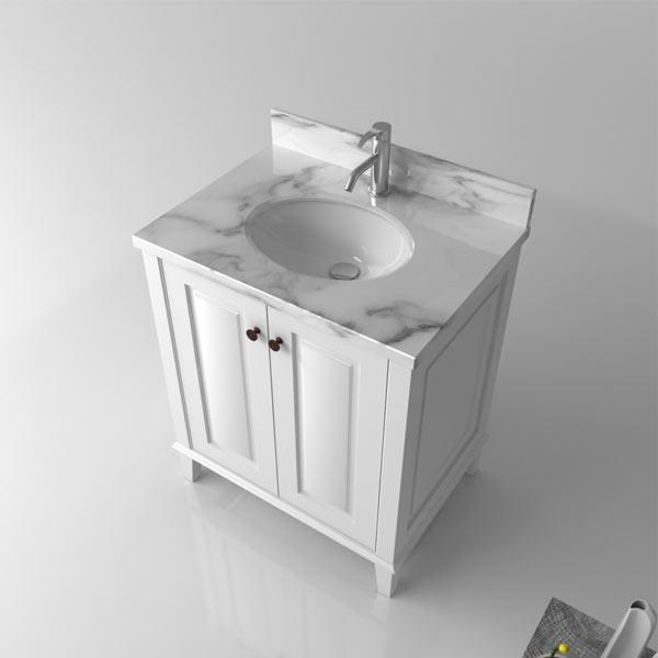 TURNER HASTINGS Coventry 750mm Vanity With White Marble Top - Idealbathroomcentre