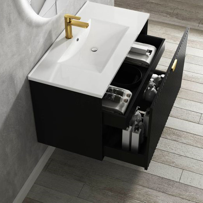 Otti Marlo 750mm Wall Hung Vanity Matte Black - Idealbathroomcentre