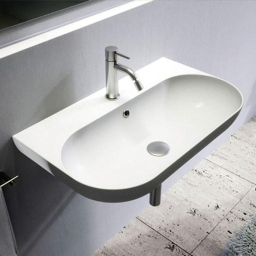 STUDIO BAGNO-Studio Bagno Milady 700mm Basin - Basin, Bathroom, Brand_Studio Bagno, Colour_ Matte Black, Colour_Gloss Black, Colour_Gloss White, Colour_Matte White, Material_Ceramic, Product Type_Wall Hung Basin, Shape & Design_Curve-Ideal Bathroom Centre