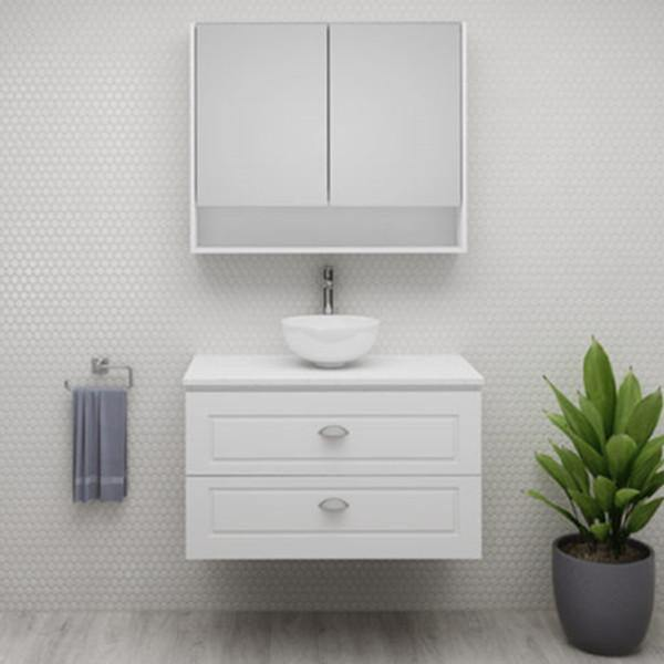 Timberline Nevada Plus Classic 900mm Wall Hung Vanity, with Silk Surface Top & White Gloss Ceramic