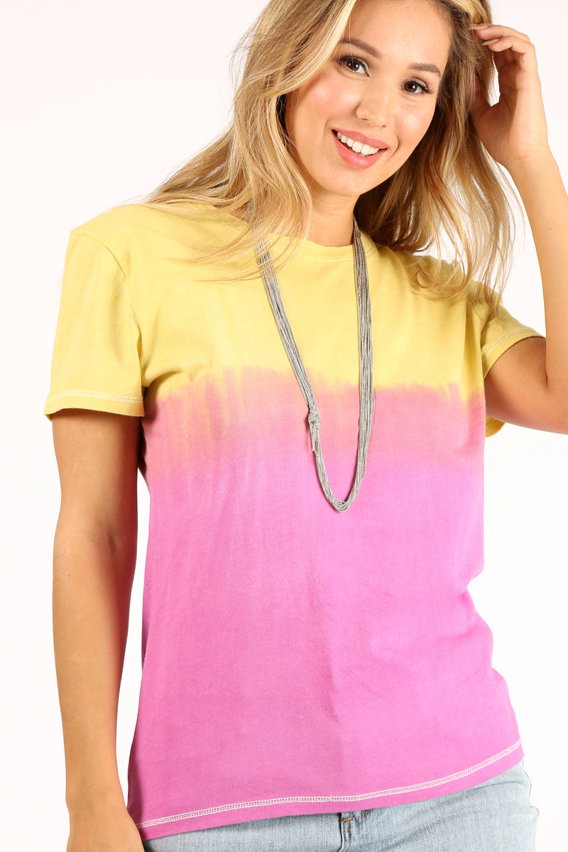 Yellow To Magenta Ombre Crew Tee