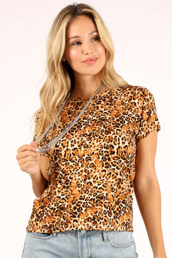 Cheetah Print Tee Brown