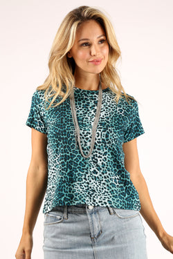 Cheetah Print Tee Emerald