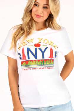 NY Vintage Tee In White