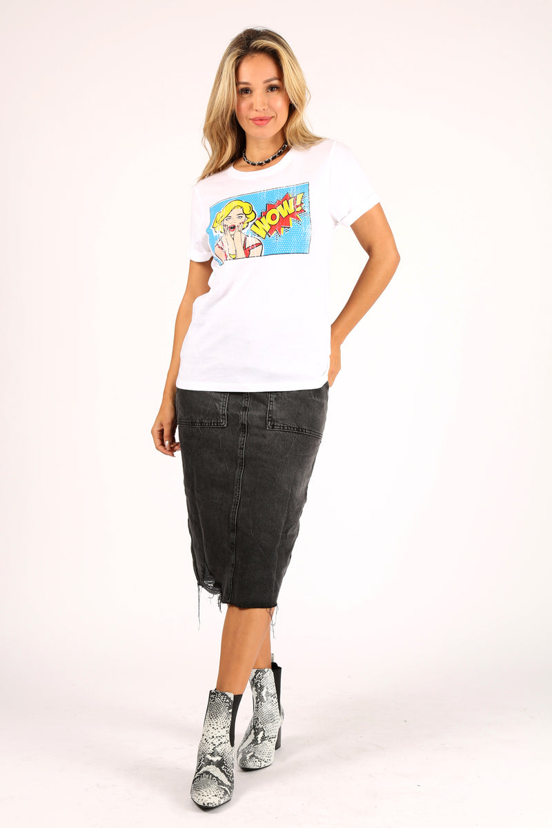 Wow Vintage Comic Tee With Rolled Sleeves