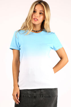 Blue To White Dip-Dye Tee