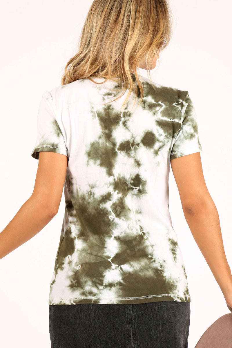 Olive Cloud Burst Tie-Dye Tee