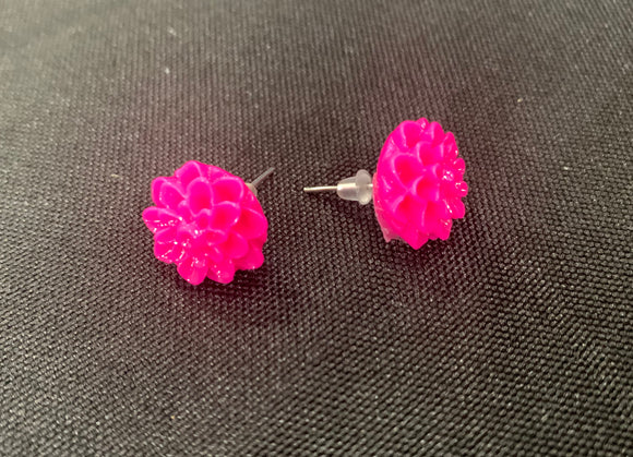 Resin Chrysanthemum Earrings-Many Color Choices