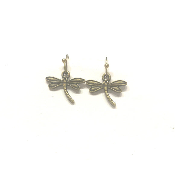 Dragonfly Earrings in Antique Bronze