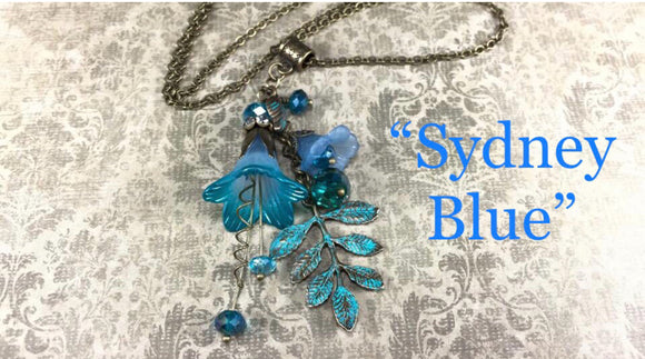The Syndney Blue -Hand Painted Flower Cluster Drop Necklace