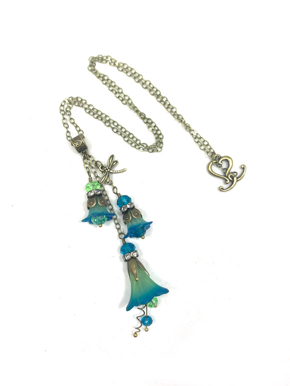 Handpainted Cluster Drop Flower Necklace In Green and Blue