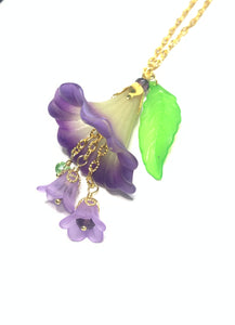 Green and Purple Trumpet Flower Cluster Drop Necklace