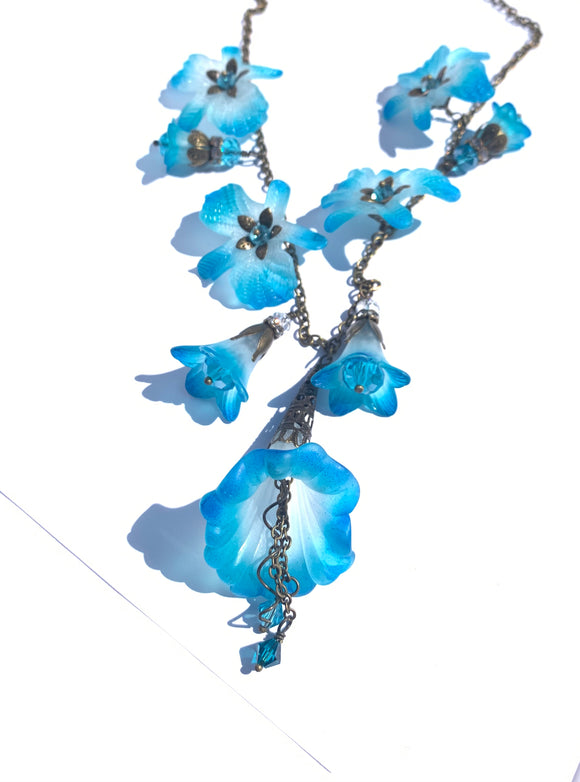 White Aqua and Blue Orchid Necklace