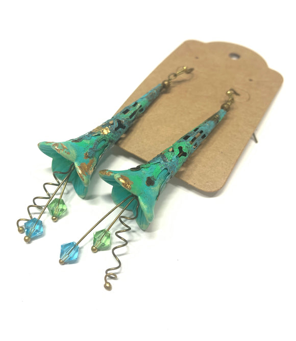 Lucite Flower Earrings- HandPainted Turquoise and Gold Trumpets