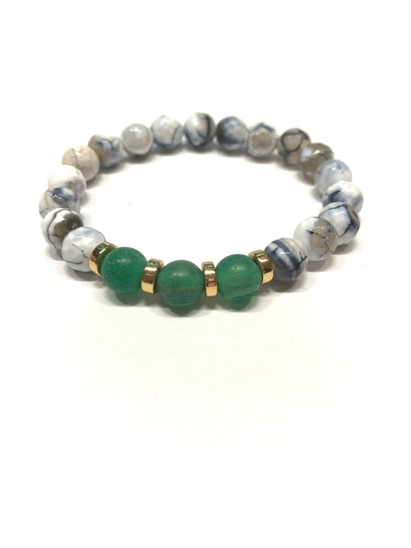 White and Green Natural Agate Bracelet