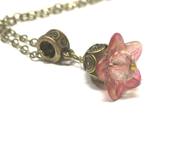 Dainty Pink Flower Necklace