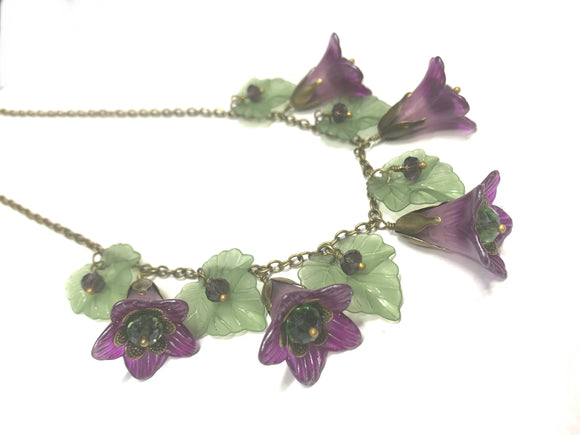 Purple Trumpets and Leaves Necklace